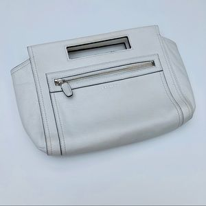 Coach clutch with handle in white leather